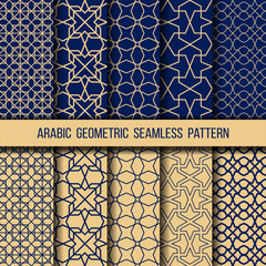 Set of blue and gold oriental patterns
