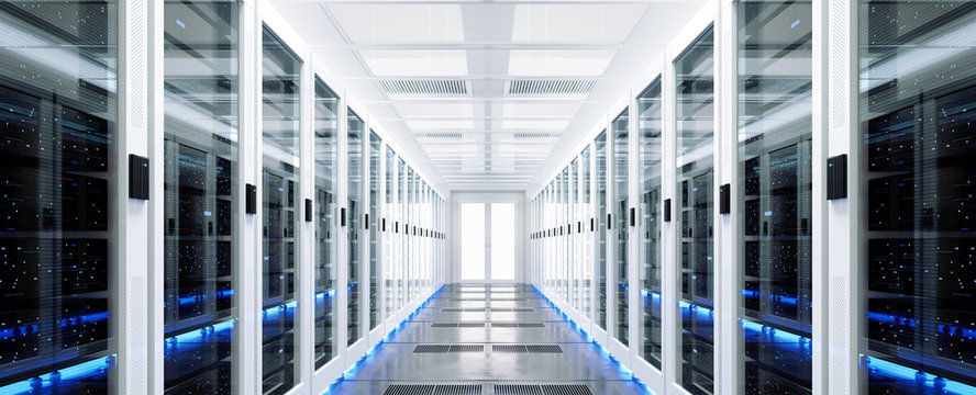 Data server rack center. Backup cloud service. 3D rendering