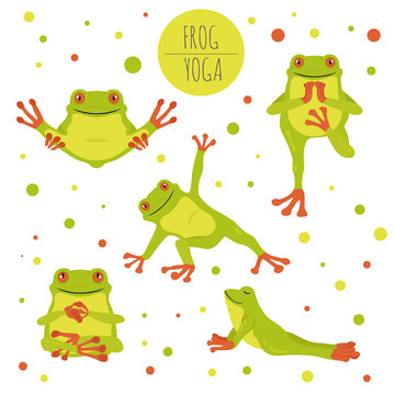 Frog yoga poses and exercises. Cute cartoon clipart set