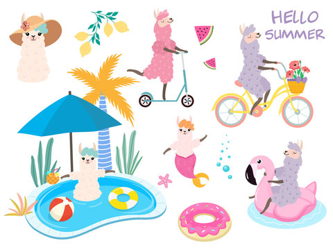 Set of stylized cartoon llamas.  Summer fun. Vector elements for cards, posters, banners.