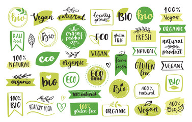 Organic food, eco, vegan and natural product icons and elements set for food market, ecommerce, organic products packaging, healthy life promotion, restaurant Hand drawn vector design elements.  Fototapete