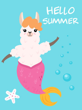 Vector illustration of cute cartoon llama with mermaid tail. Stylish pattern for greeting cards, invitations, posters and cards.