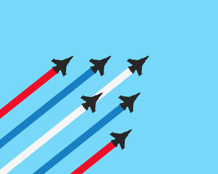 Military fighter jets with trails on a blue background. Vector airplane show illustration