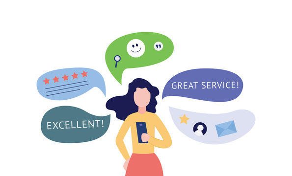 Woman giving customers feedback and social network icons flat vector illustration.