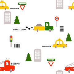 Seamless pattern: transport: cars, firefighters, truck, signs, houses, trees on a white background. Flat vector. Illustration.