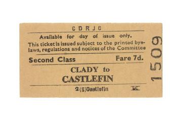 Fahrkarte Zug Irland Vintage Train Tickets Ireland alt old retro beige Clady Castlefin zweite Klasse second class