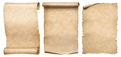 Three vintage paper or parchments collection isolated on white Fototapete