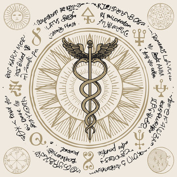 Vector banner with hand-drawn staff of Hermes. Caduceus with two snakes and wings on the background of an old illegible manuscript written in a circle. Medical symbol