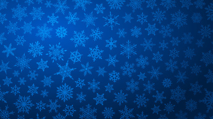 Christmas background with various complex big and small snowflakes in blue colors