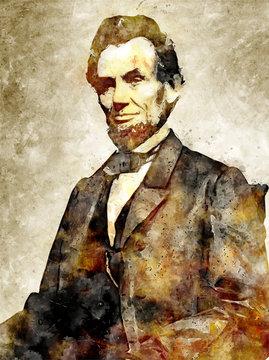 Abraham Lincoln Digital Art Portrait