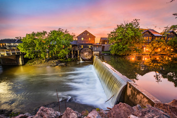Pigeon Forge Tennessee TN Old Mill at Sunrise Fotomurales