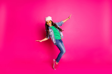 Close up photo beautiful little age she her curly lady cool arms hands action motion disco party amazing look long hairdo wear yellow specs casual jeans denim jacket isolated pink bright background