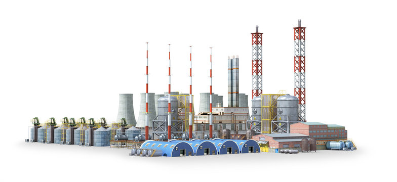 factory outside Isolated on white background. 3d illustration