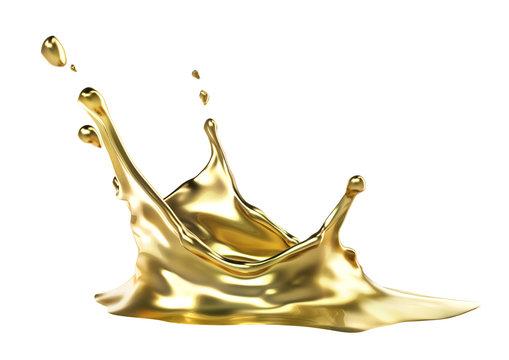Splash of gold isolated on a white background. 3d illustration