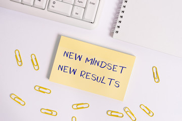 Conceptual hand writing showing New Mindset New Results. Concept meaning obstacles are opportunities to reach achievement