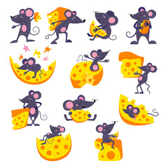 Cartoon mouse vector mousy animal character rodent and funny rat with cheese eating cheesy food illustration mousey set of little mouselook mice illustration set isolated on white background