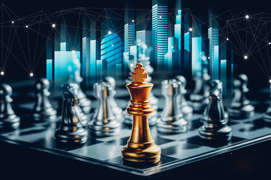 Business futuristic graphic icon,silver and golden chess board game.strategy ideas and connection concept in vintage color tone.