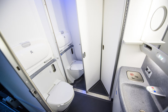 Modern airplane toilet
