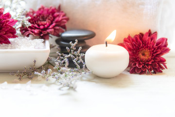 Thai Spa Treatments aroma therapy salt and sugar scrub and rock massage with red flower with candle for relax time. Thailand. Healthy Concept. copy space
