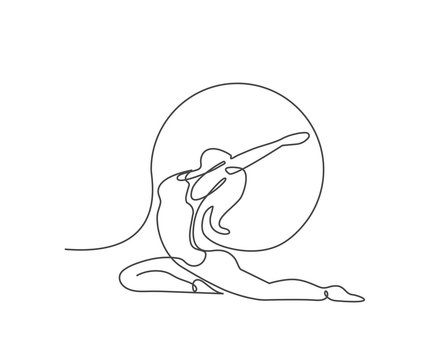 Young girl gymnast. Woman doing yoga exercise continuous line vector illustration.