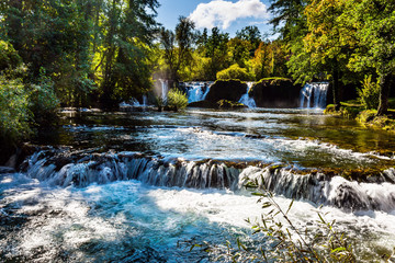 Wall Mural - Magnificent cascade of waterfalls on the river Korana