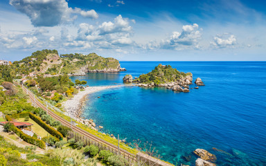 Beautiful Isola Bella, small island near Taormina, Sicily, Italy Wall mural