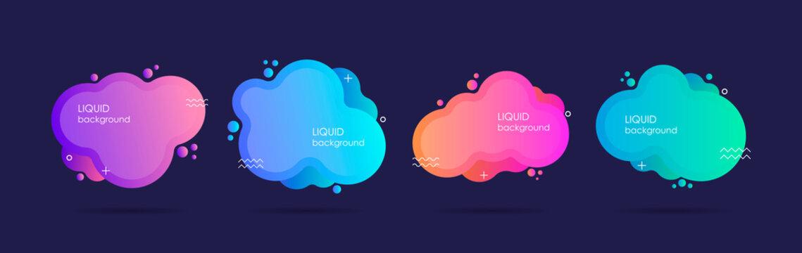 Abstract liquid shape. Fluid design. Isolated gradient waves. Modern vector illustration