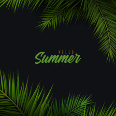 Wall Mural - Summer Tropical palm leaves. Exotic palms tree. Dark Floral Background.