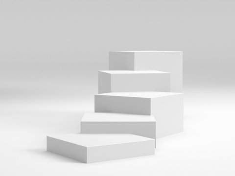 White Box Cubes. 3D Blank Stairs Display Or Stand. Empty Bakdrop With Boxes.