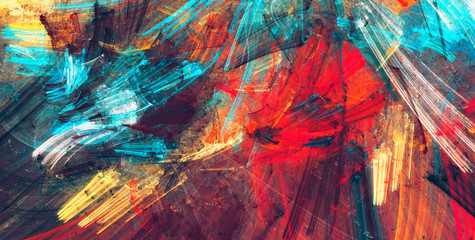 Estores personalizados con tu foto Bright artistic splashes. Abstract painting color texture. Modern futuristic pattern. Dynamic bright vibrant background. Fractal artwork for creative graphic design