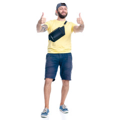 Man in shorts and cap standing happiness smiling on white background isolation