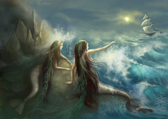 Hunting two mermaids in the rocks on the background of a stormy ocean and the raging waves. fishing. Digital illustration. Digital painting. Digital art.
