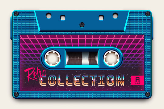 Relistic Bright Blue Audio Cassette, Retro Collection, Mixtape in Style of 80s and Retrowave, Synthwave, Vaporwave or Outrun