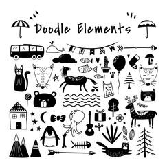 Beautiful doodle dingbat Elements Set