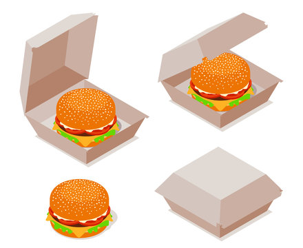 Burger with Open and Closed Cardboard Box. Isometric Vector Illustration