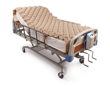 Hospital bed with air mattress - clipping path