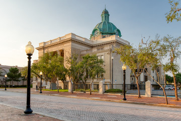 Historic Volusia County Courthouse with copper dome clock street view in DeLand, Florida Wall mural