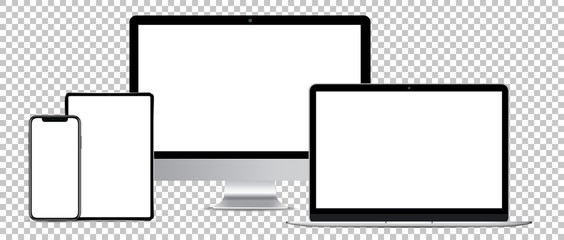 computer, tablet, laptop and smartphone on a transparent background
