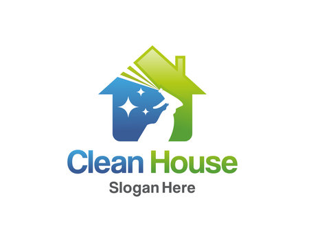 House Cleaning Logo Design, Cleaning Service House Logo Template Vector