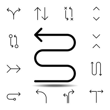 arrow zig zag icon. Simple thin line, outline vector element of Arrow icons set for UI and UX, website or mobile application