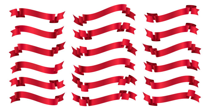 Red ribbons banners isolated on white background