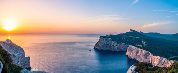 Landscape of the gulf of capo caccia at sunset from gortta dei vasi rotti - Sardinia