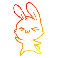 warm gradient line drawing cute cartoon rabbit