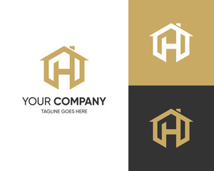 Initial Letter Logo H-H Letter With House Concept Logo Design