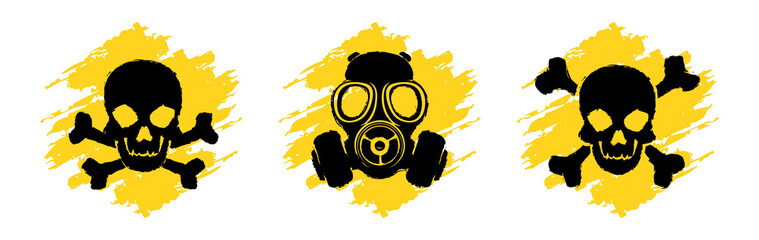 Obraz Toxic Hazard Grunge Signs. Poison vector symbols. Skull and crossbones signs. Gas mask warning sign - fototapety do salonu