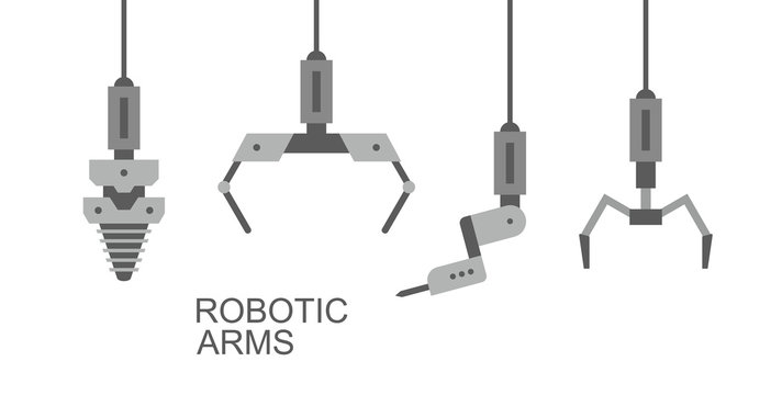 Robotic arms, hands. Banner design. isolated on white background