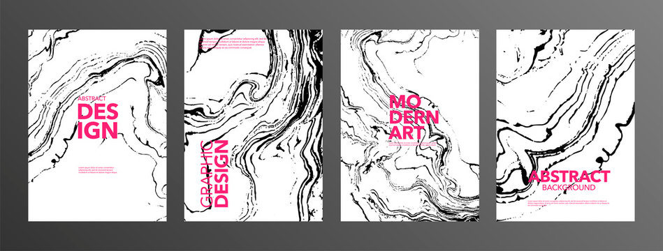 Monochrome suminagashi paper vector banner pack. Black and white ebru stains illustrations with pink typography.