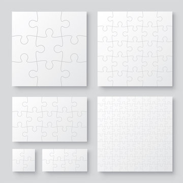 Set of black and white puzzle pieces. Has different sizes namely 100, 15, 25, 9, 4, 8 pieces. Realistic mackup with shadow - stock vector.