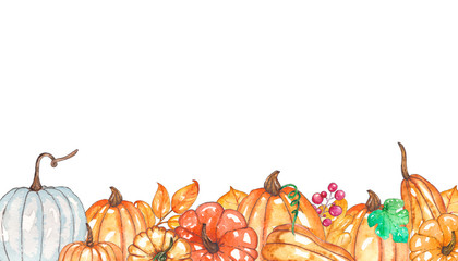 Watercolor autumn template with pumpkins, yellow leaves, berries.
