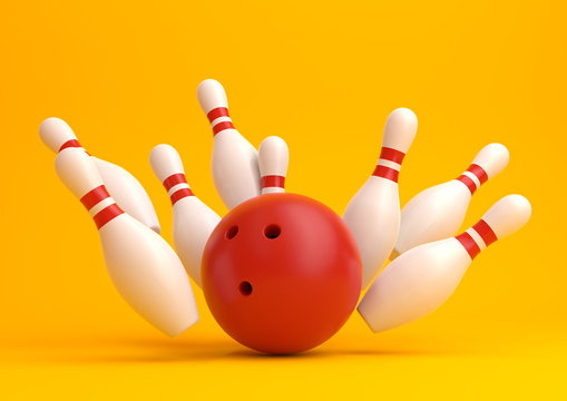 Red Bowling Ball and scattered white skittles isolated on yellow background. Realistic game set. 3D rendering illustration